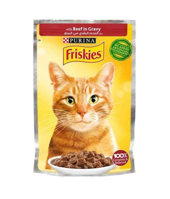 Purina Friskies Beef Chunks in Gravy Wet Cat Food Pouch 85g